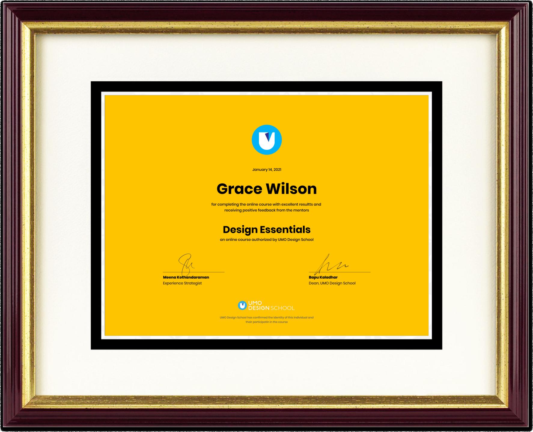 UMO Certificate