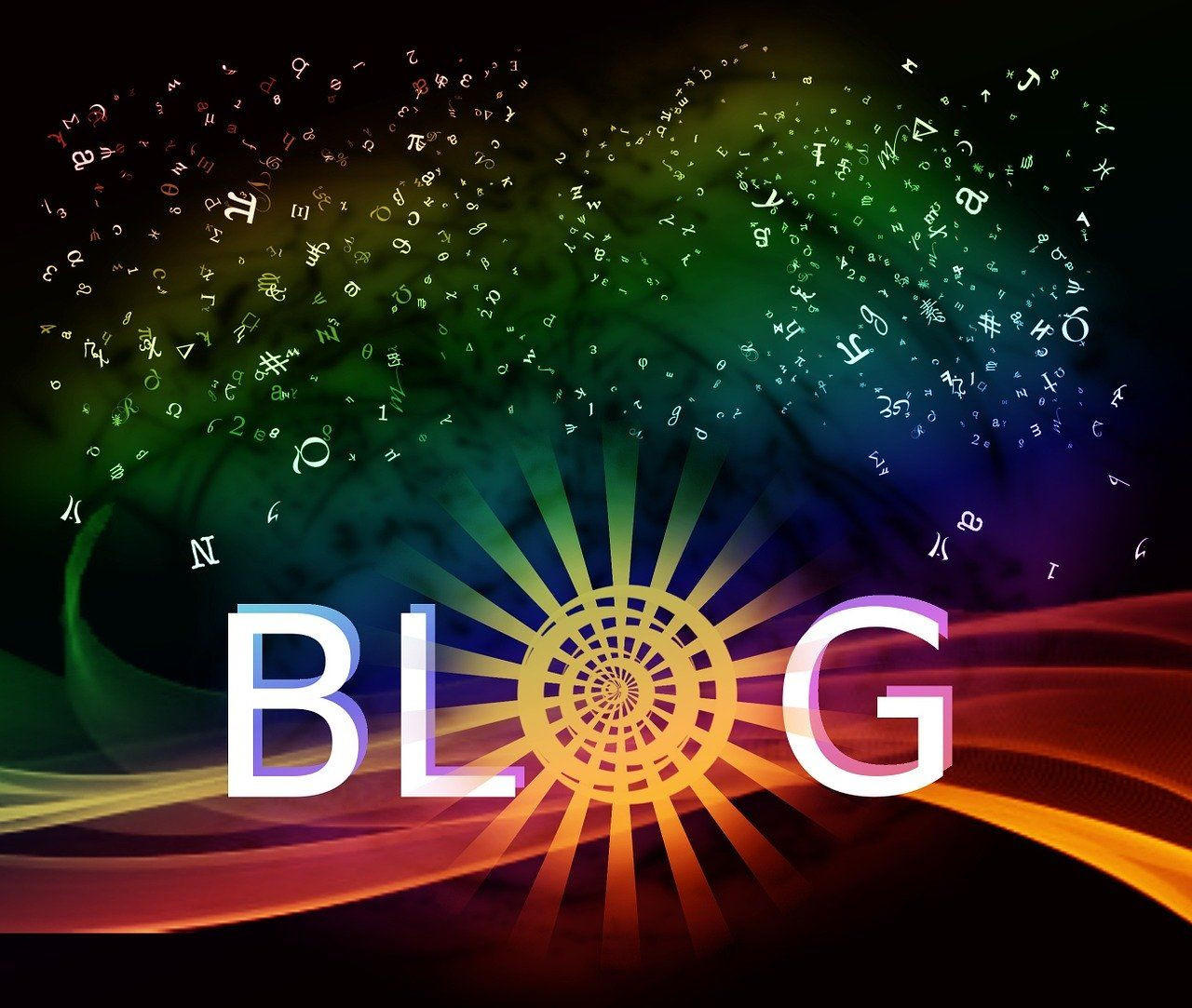 Blog banner with rainbows and stardust