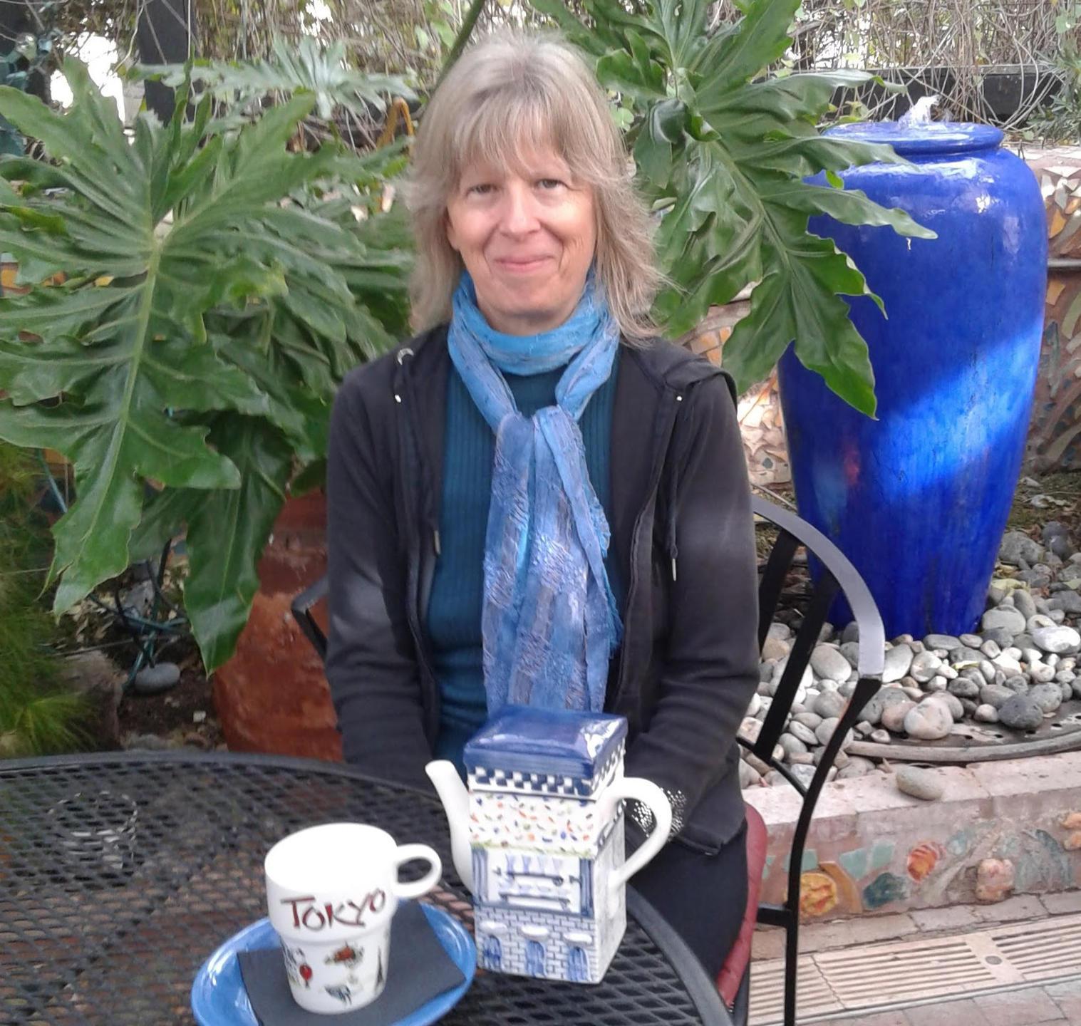 Milli Thornton at tea in Tucson, Arizona