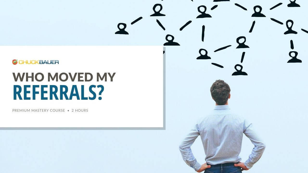 Who Moved My Referrals? - Premium Business Development Course - A business man stands against a blue background looking at an illustration of his ever-growing referral network.
