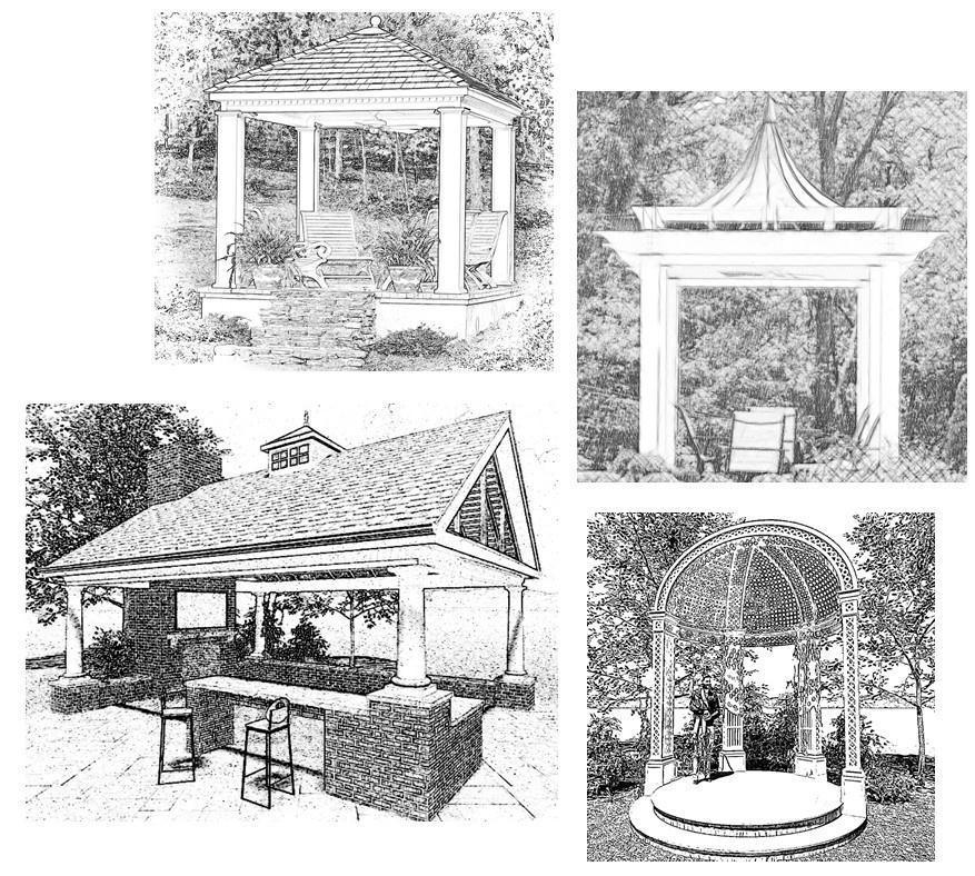 Custom outdoor kitchen, wedding pavilion, and summerhouse designs