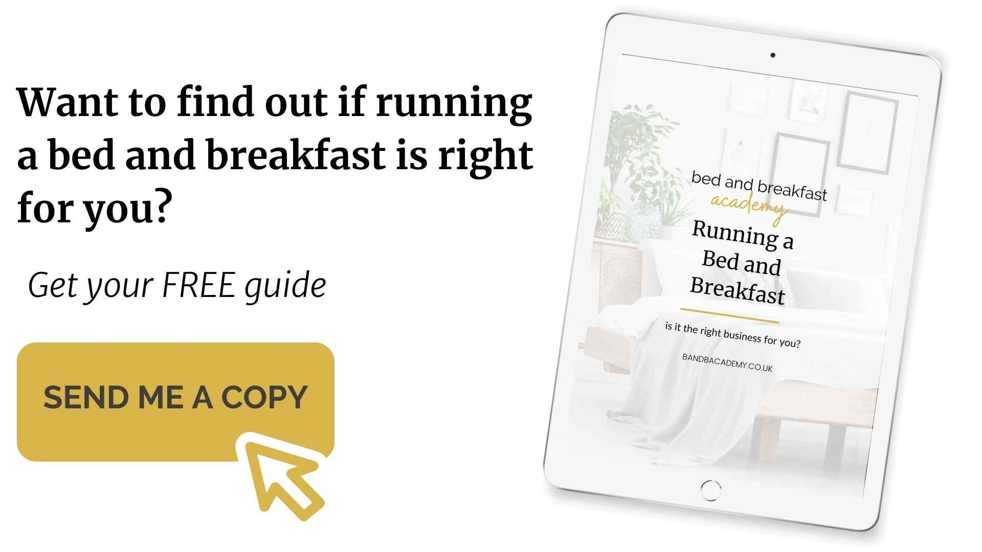 mock up of free is Running a Bed and Breakfast the right business for your guide