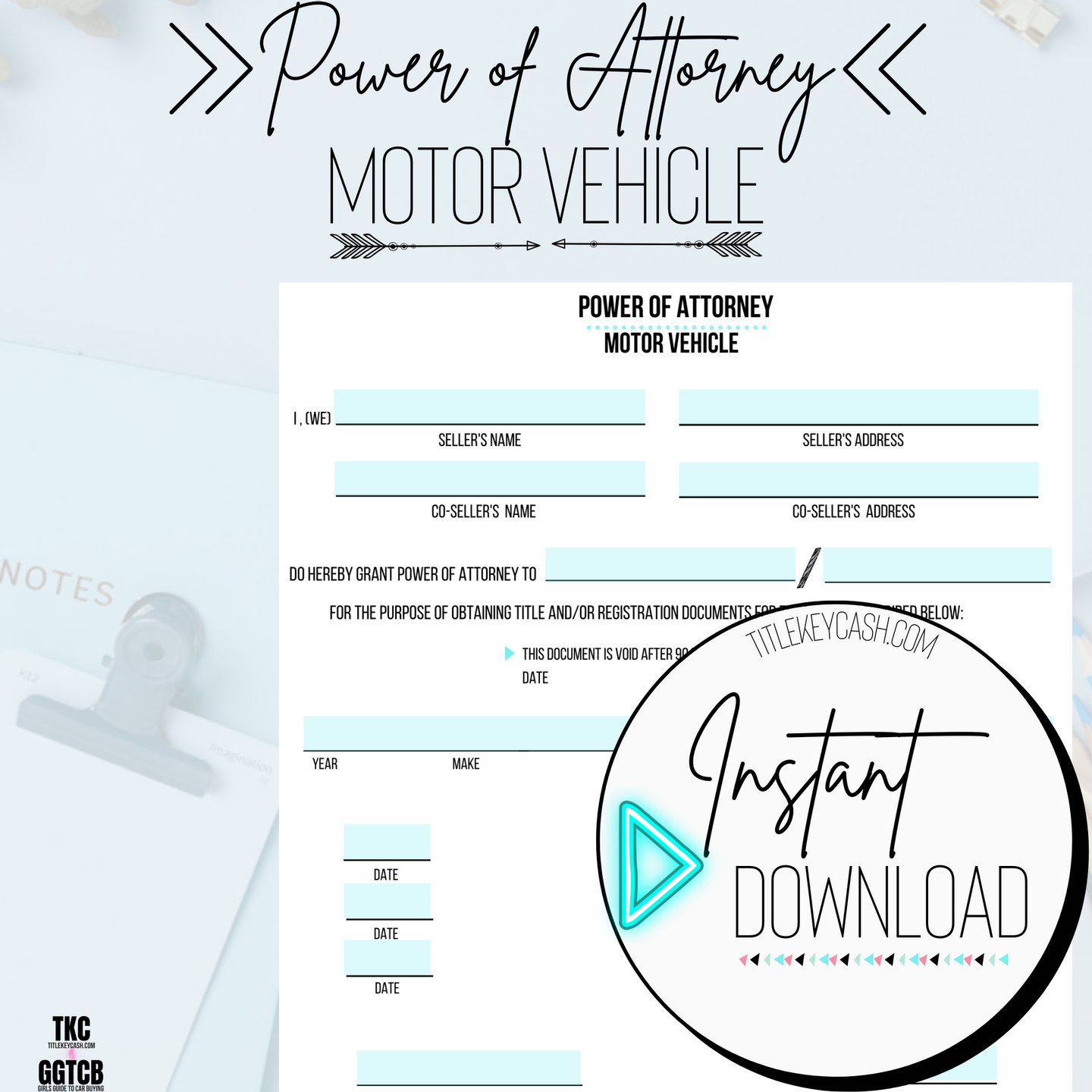 Power of Attorney for Motor Vehicle