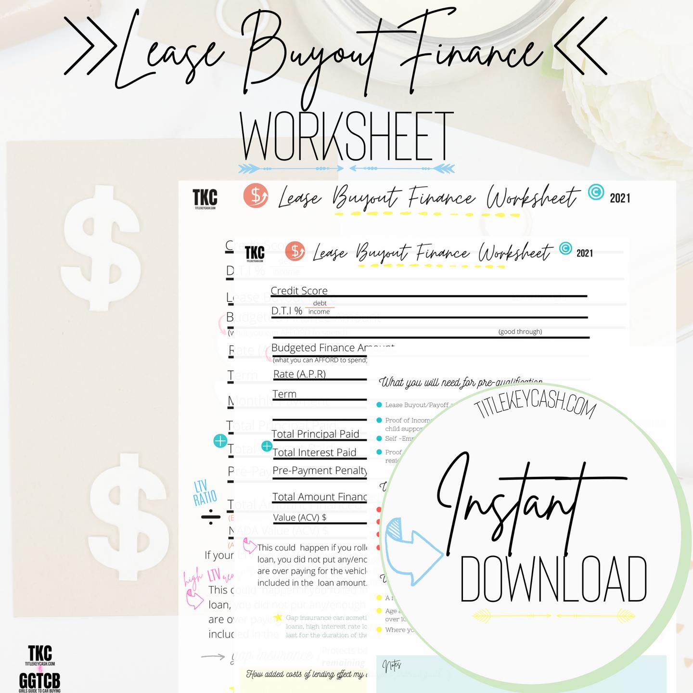 Lease Buyout Financing Worksheet