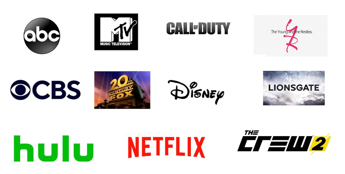 logos of major film and tv studios