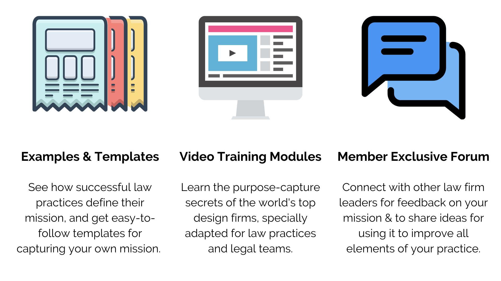 Examples & Templates, Video Training Modules, Member Exclusive Forum