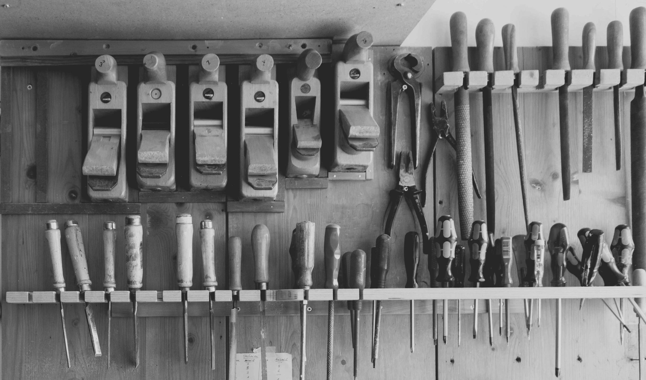 black and white image of woodshop hand tools