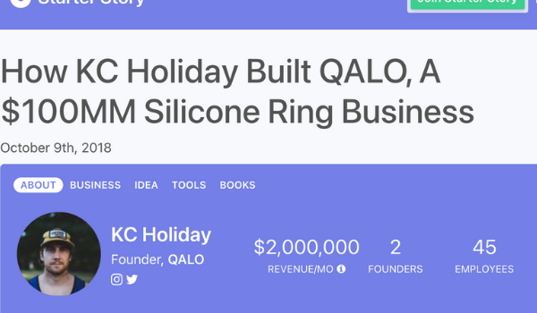 Screenshot of KC Holiday's article in starter story