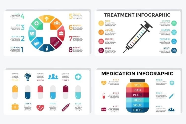 Infographics displaying a shot needle, pills and a cannister for medicine.