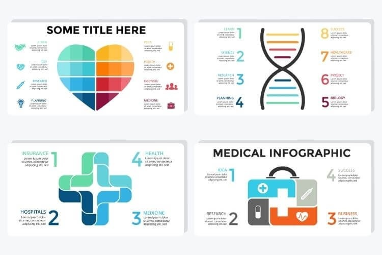Medical infographics displaying a cross, heart, DNA and suitcase.