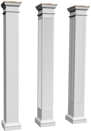 Square, Tuscan, fiberglass columns in smooth, fluted and paneled