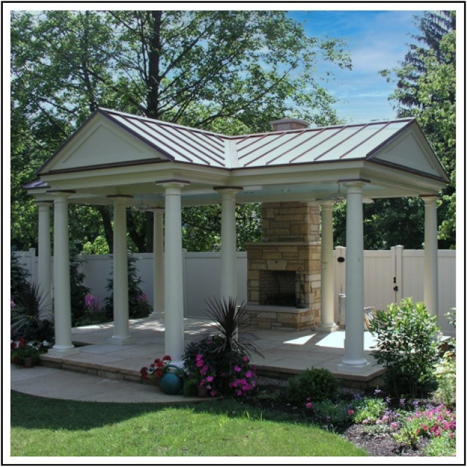Garden Pavilion with gable roof and fireplace