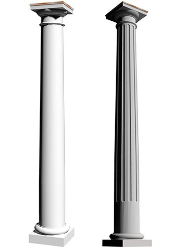 Round, tapered, smooth and fluted Tuscan, fiberglass columns