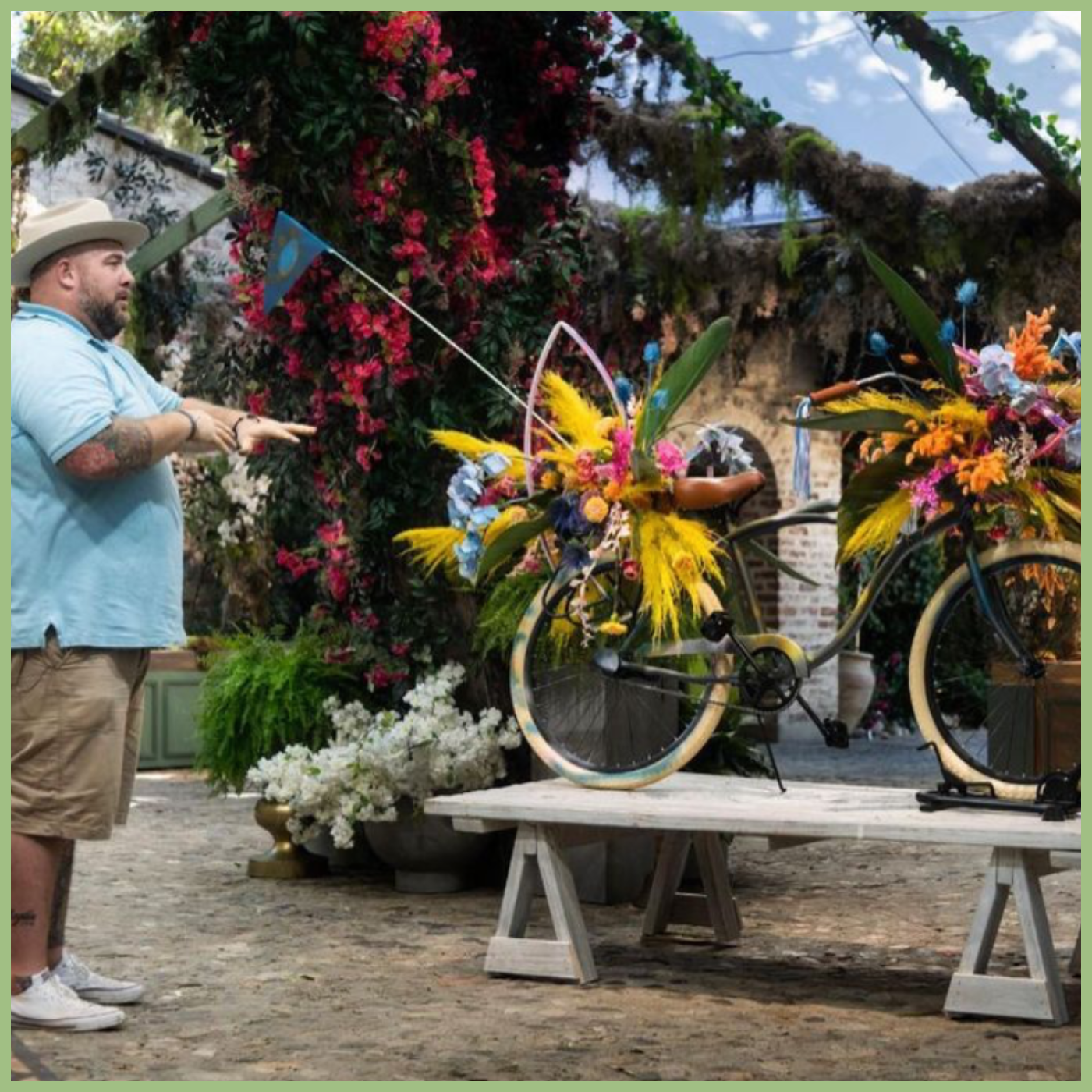 HBO MAX FULL BLOOM show flowered bicycle by Ace Berry