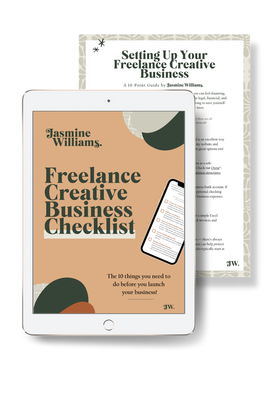 Image of the freelance creative business checklist on an iPad with a page from the guide behind it.
