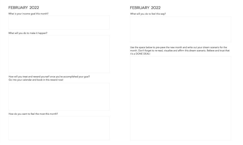 Dream Life Designer Planner 2022 Monthly Reflection