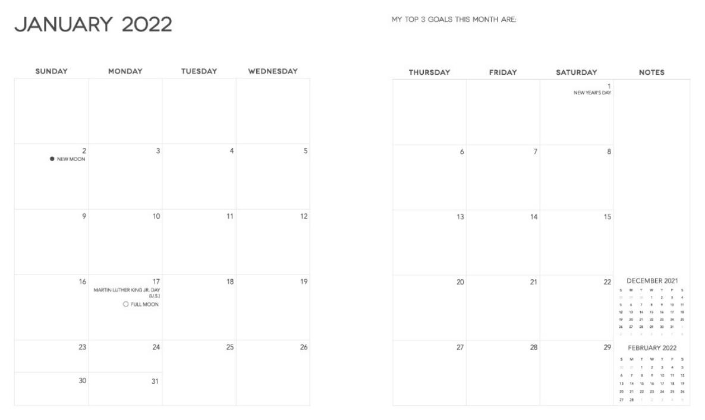 Dream Life Designer Planner 2022 Monthly View