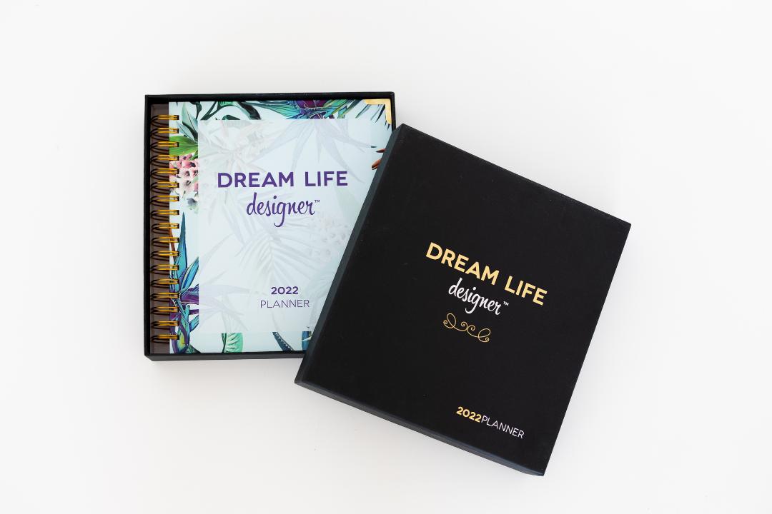 Floral Dream Life Designer Planner 2022 comes in beautiful black box