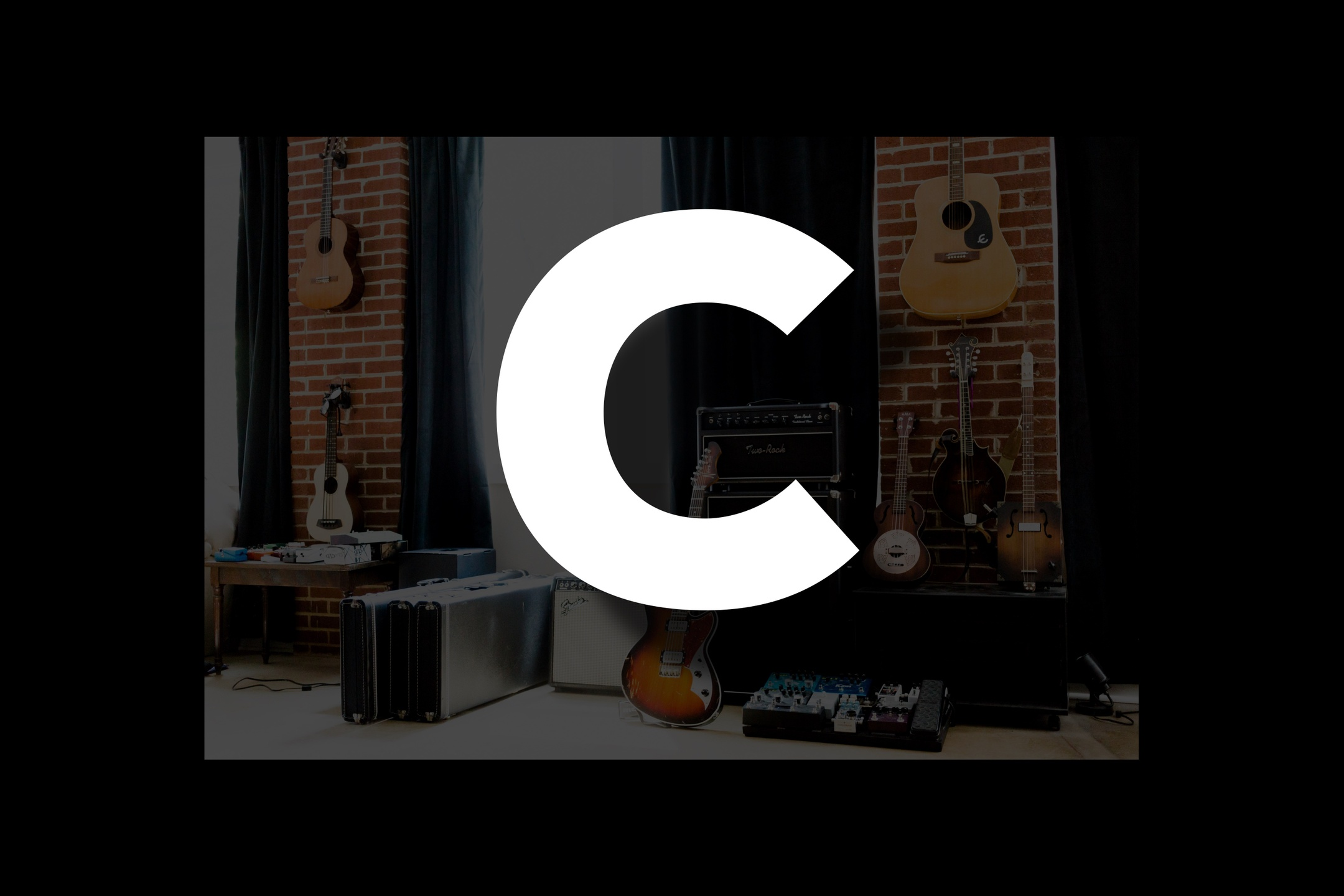 Glossary section containing music and guitar words that start with the letter C.