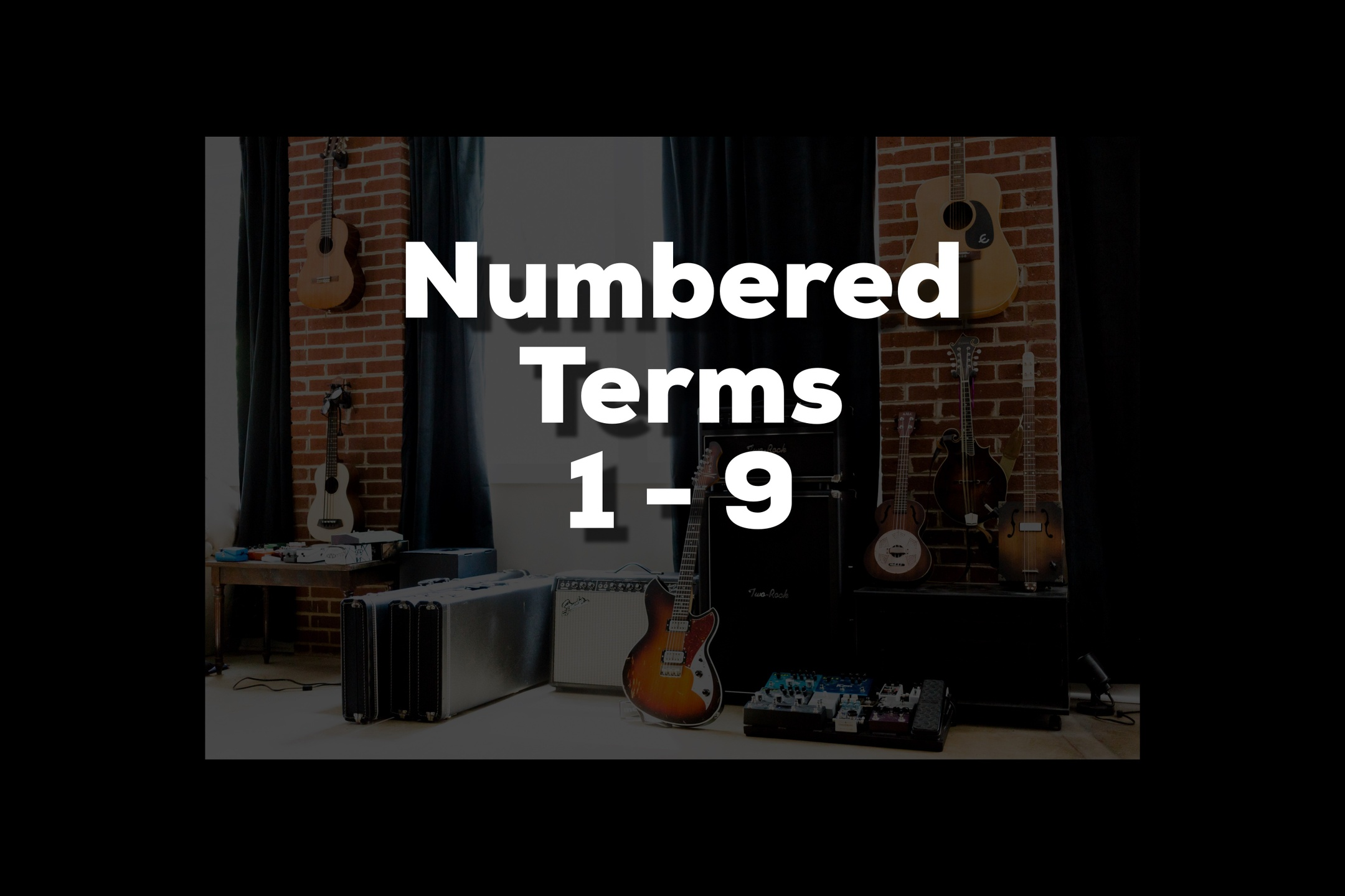 Glossary section containing music and guitar words that start with numbers 1-9