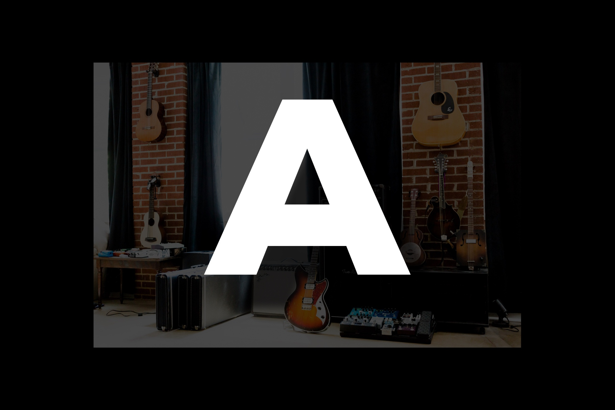 Glossary section containing music and guitar words that start with the letter A.