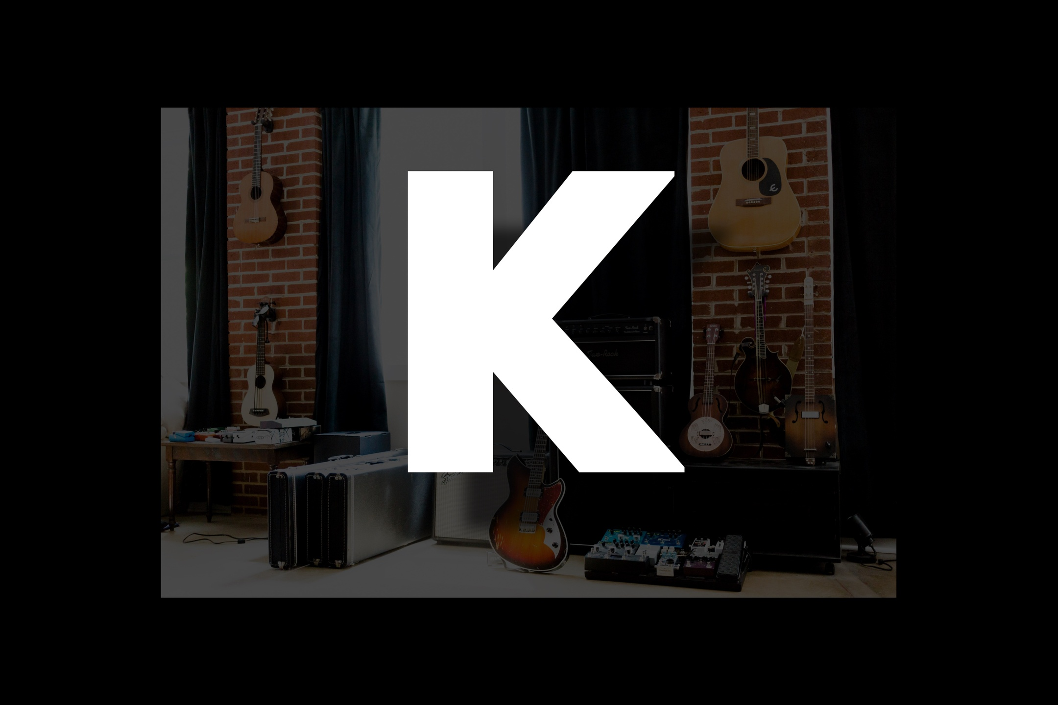 Glossary section containing music and guitar words that start with the letter K.