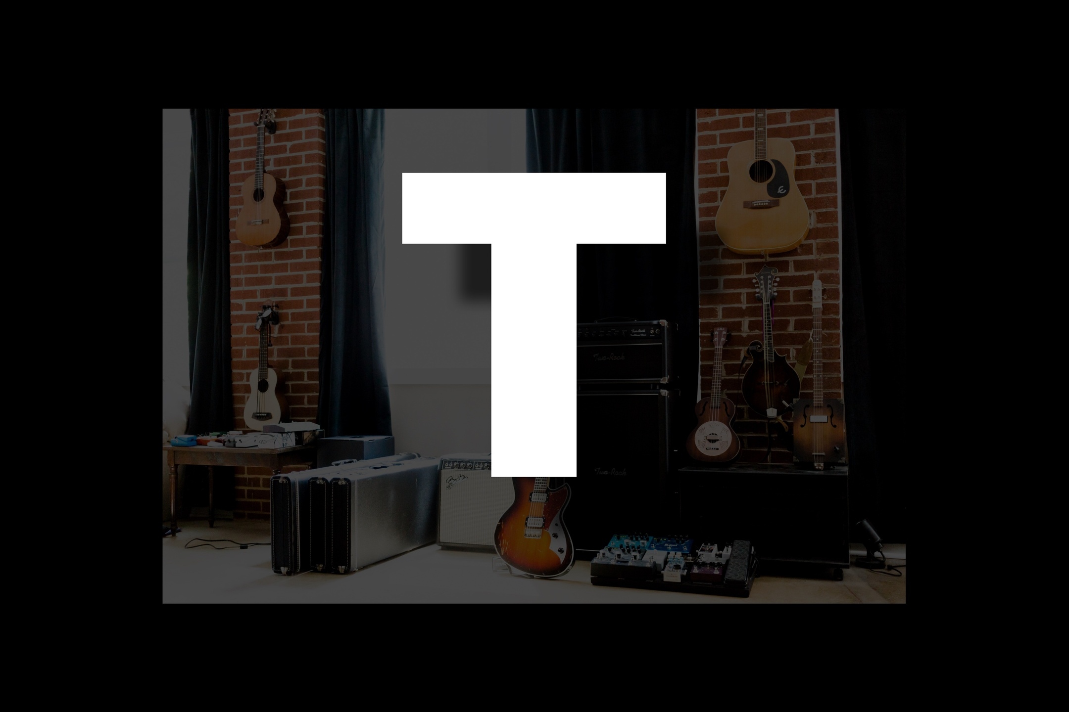 Glossary section containing music and guitar words that start with the letter T.