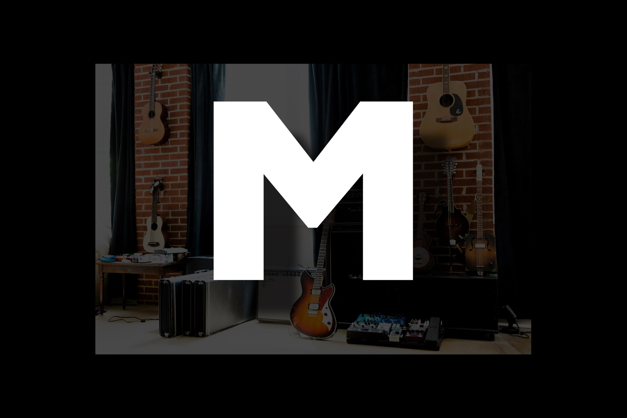 Glossary section containing music and guitar words that start with the letter M.