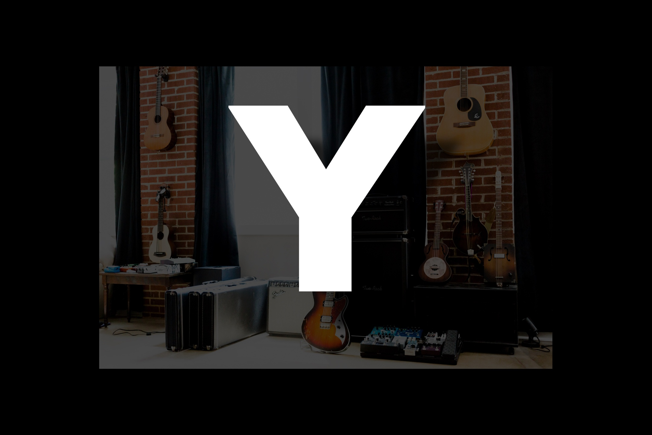Glossary section containing music and guitar words that start with the letter Y.