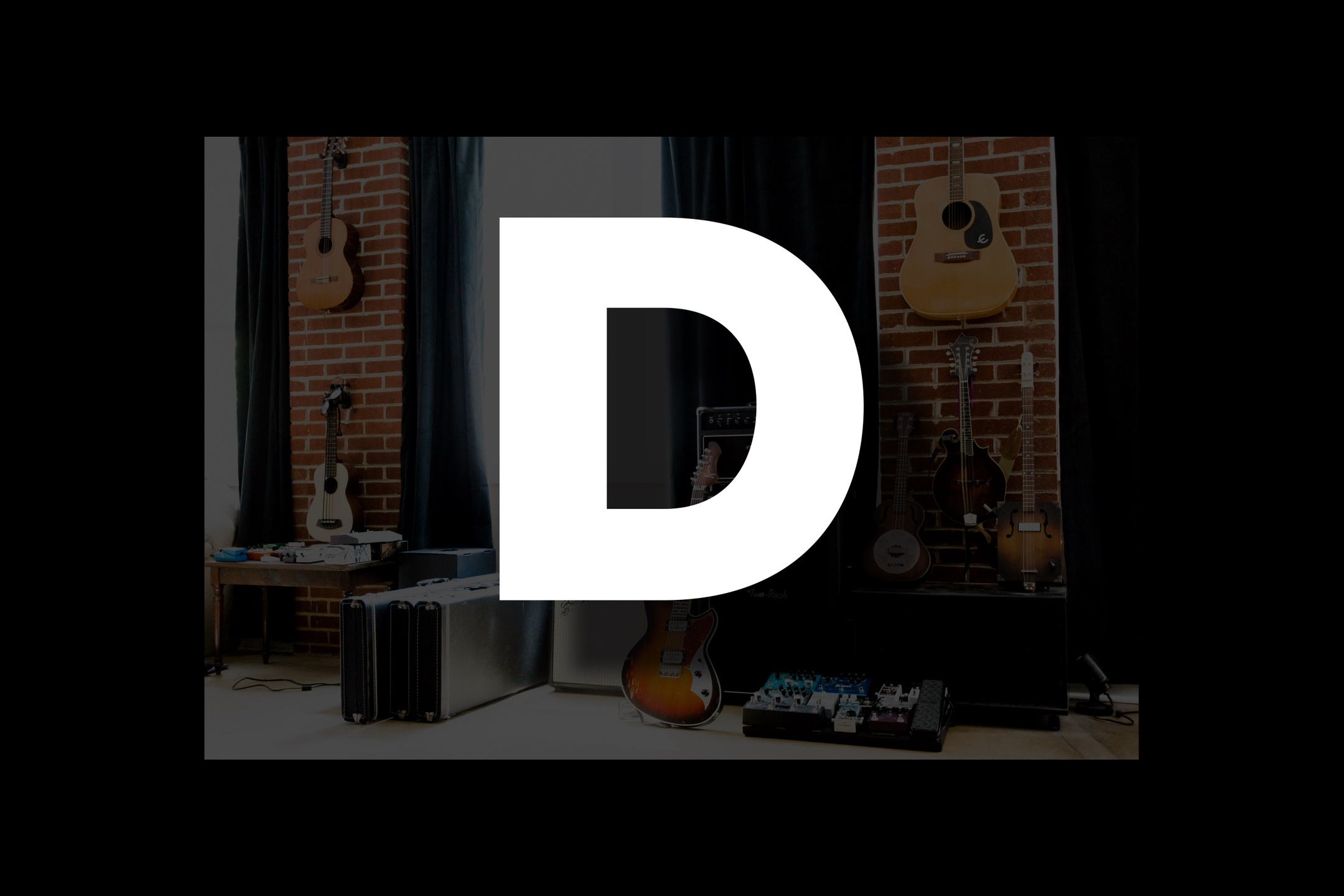 Glossary section containing music and guitar words that start with the letter D..