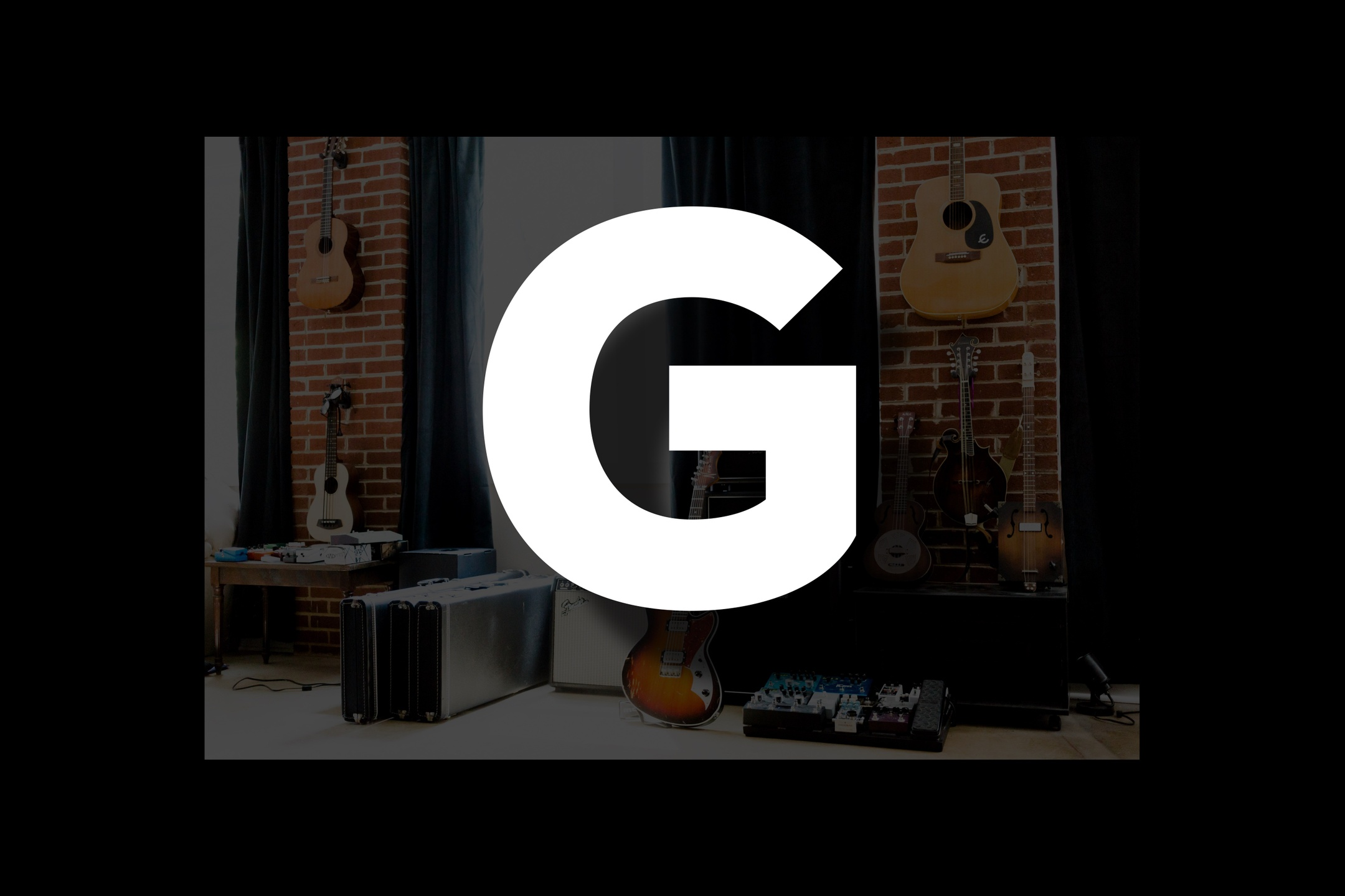 Glossary section containing music and guitar words that start with the letter G..