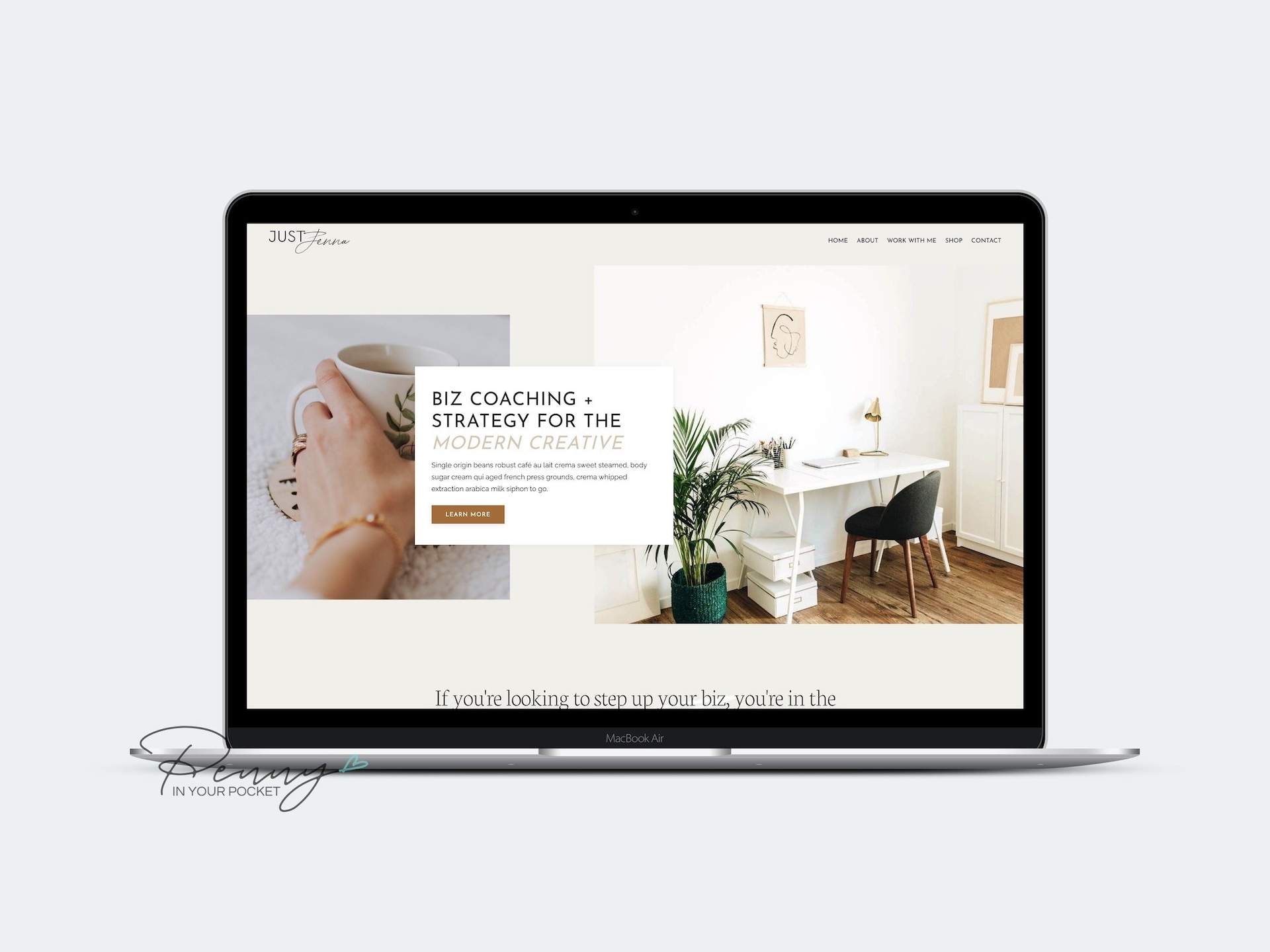 mockup laptop image of Kajabi website theme for Yoga style membership