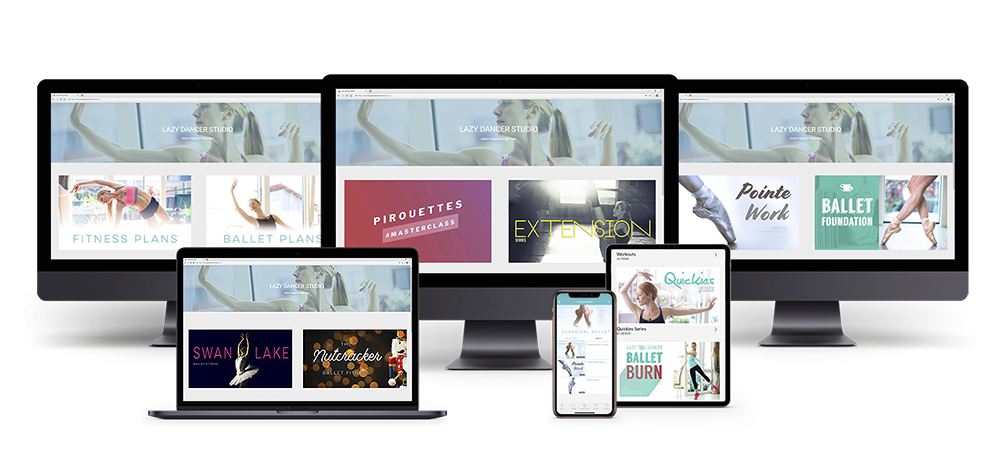 all the ballet classes and ballet fitness workout plans displayed on various devices like iMac, Ipad, Iphone and MacbookPro