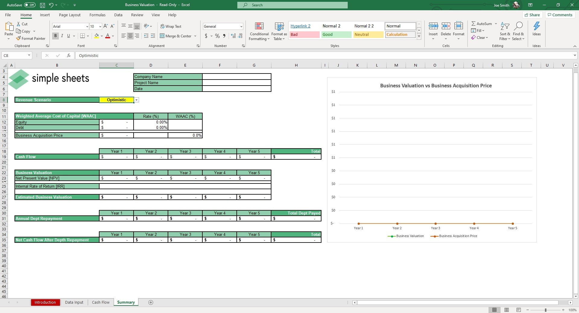 The Summary Sheet will calculate and track the Acquisition Price