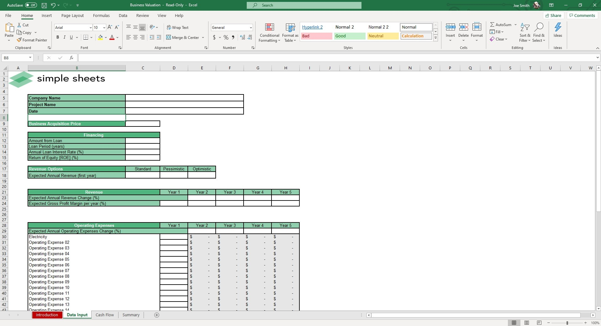 Input Data and the spreadsheet will begin to calculate the valuation based on the model of your choice.