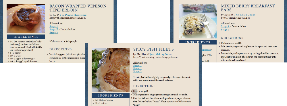 images of cookbook pages with blueberry dessert