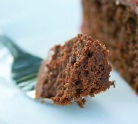 chocolate cake on end of fork