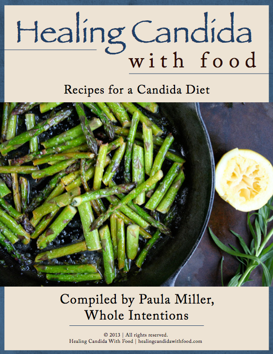 cover of candida cookbook with asparagus
