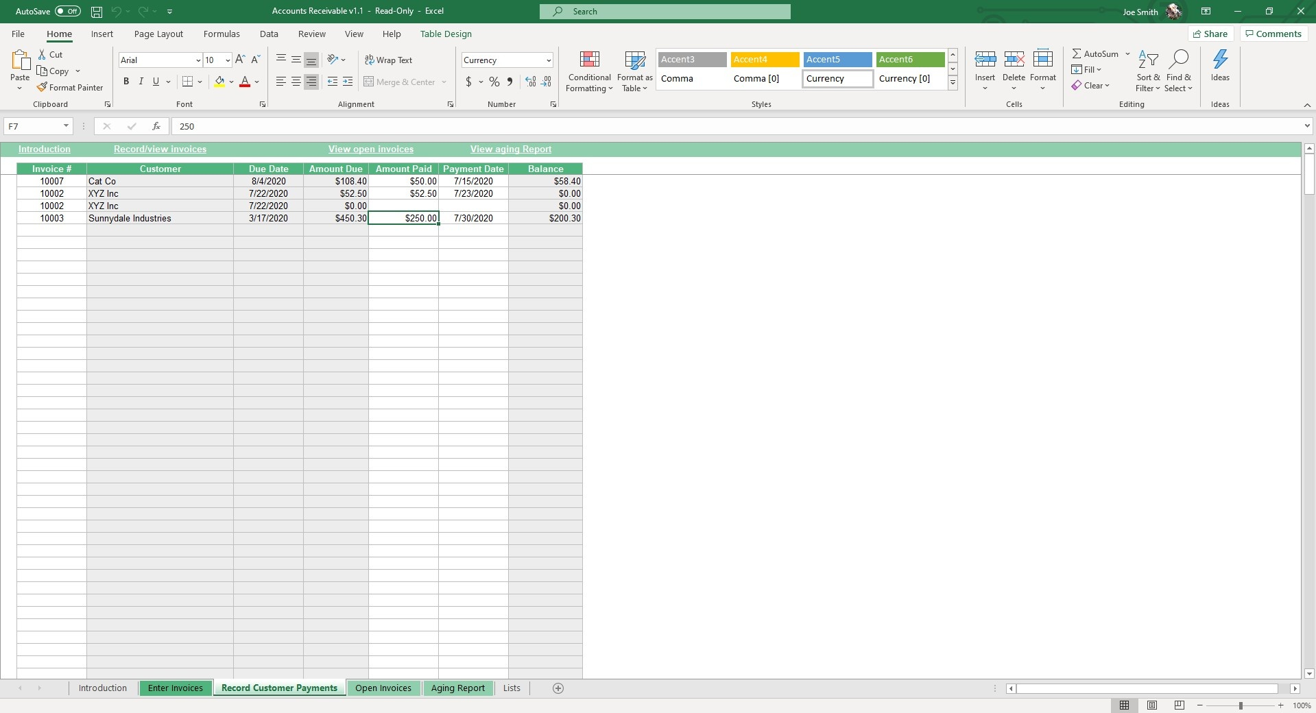 Record customer payments made in this sheet