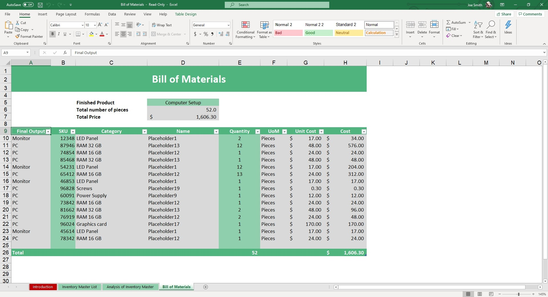In our Bill of Materials Excel Template, you can easily view the parts required to make a finished products and the costs associated with it.