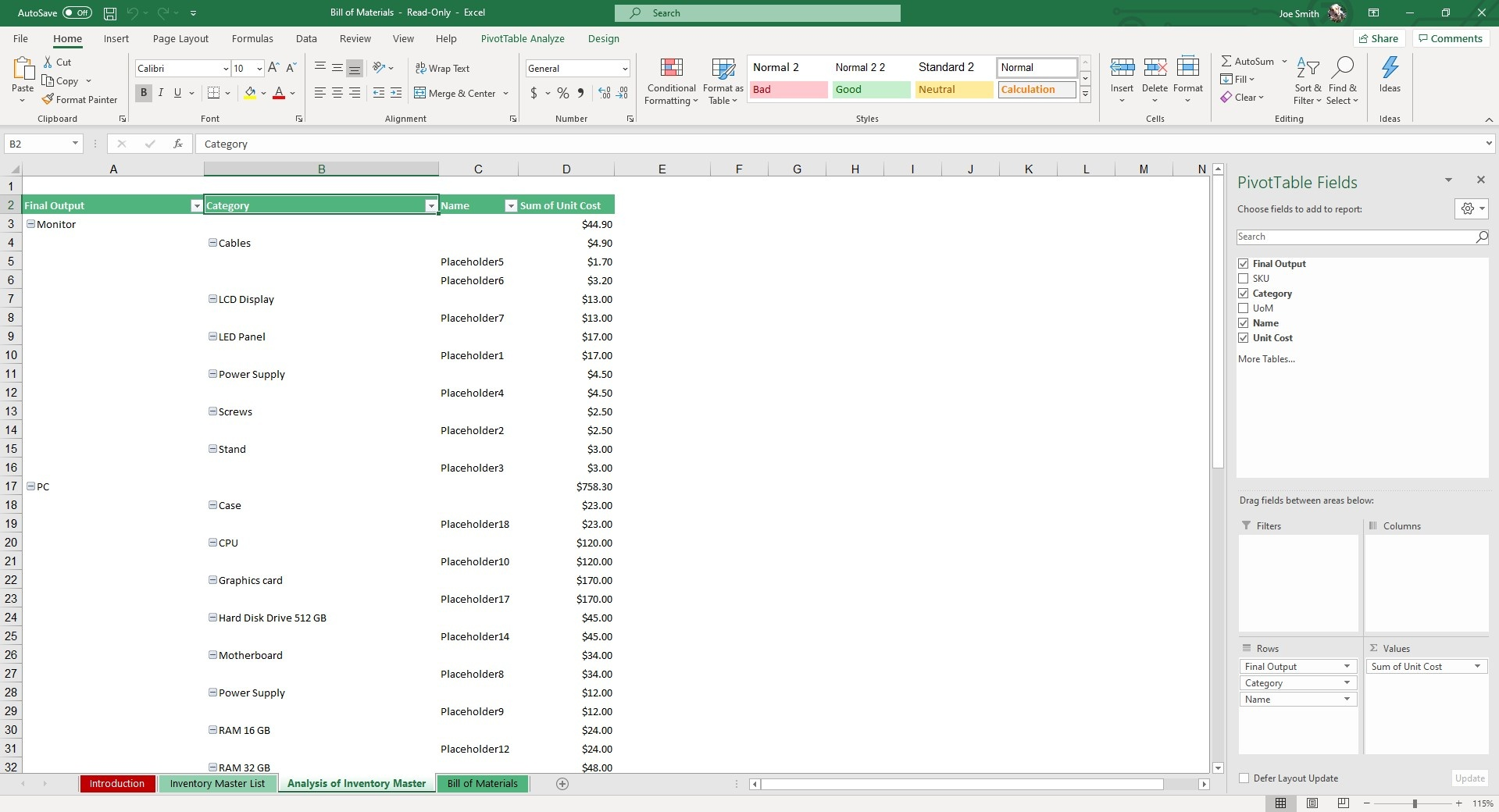 In the Analysis of Inventory Master sheet, enter parts necessary for each product in the pivot table.