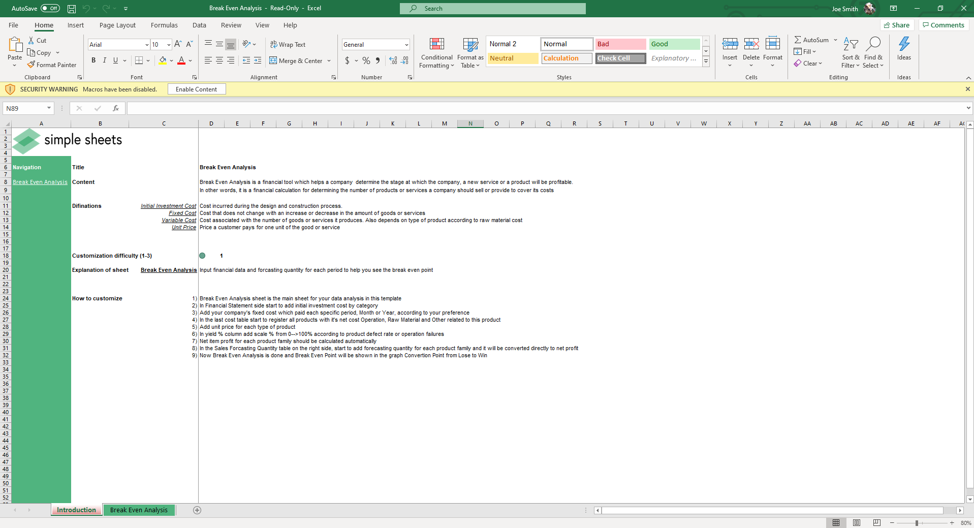 The introduction sheet for our Break Even Analysis spreadsheet to calculate when a venture will break even.