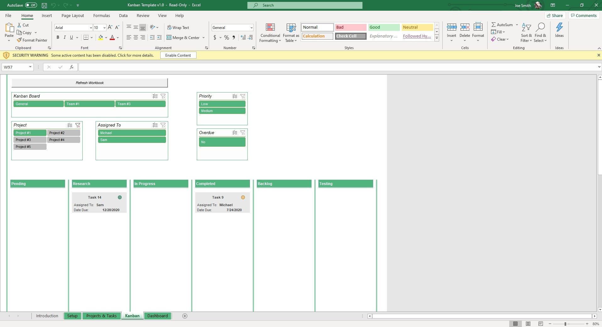 View your Kanban Board and select which Board, Project and Person tasks are assigned to. You can also filter by priority and overdue to see the most pressing tasks.