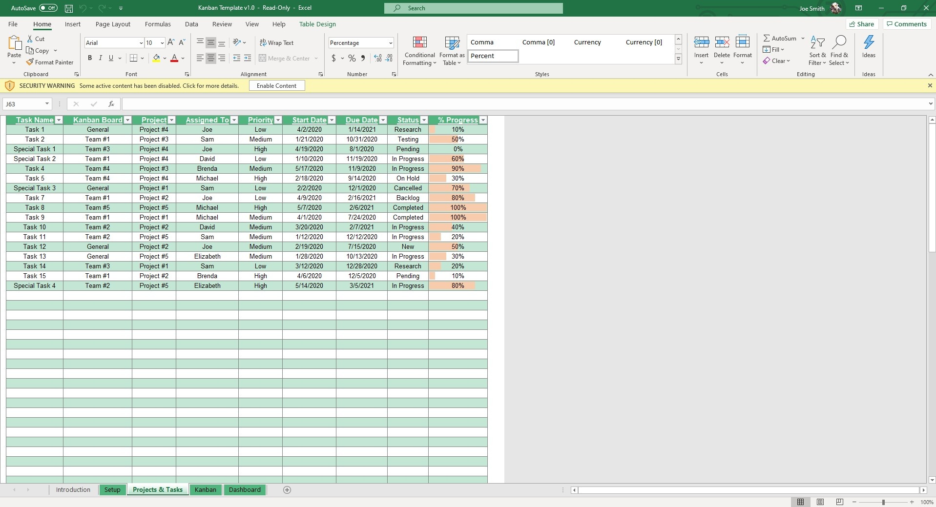 Log your tasks and projects into the table and they will auto populate in the other sheets.
