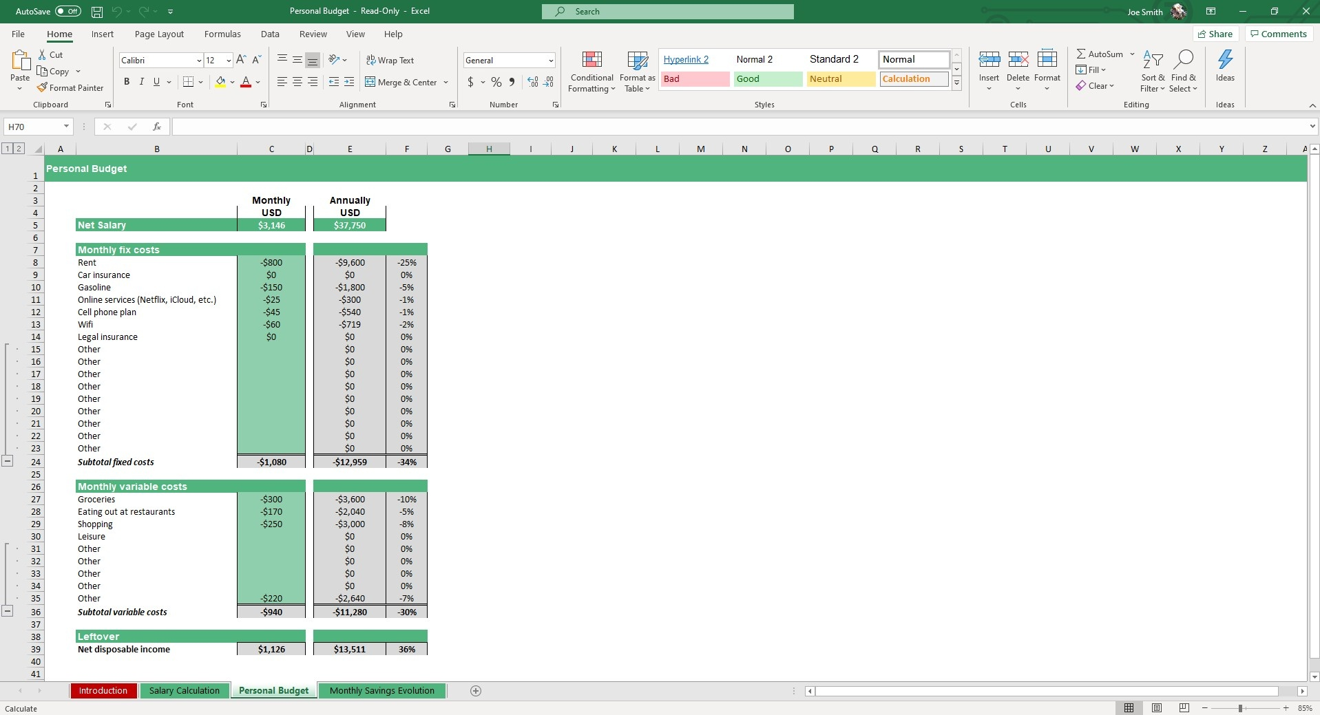 In the Personal Budget sheet, you can input your income and expenses into this spreadsheet.