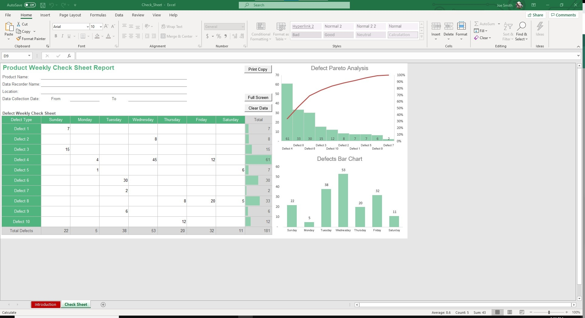 The Check Sheet template makes it easy to record production issues and automatically updates defects bar and pareto charts.