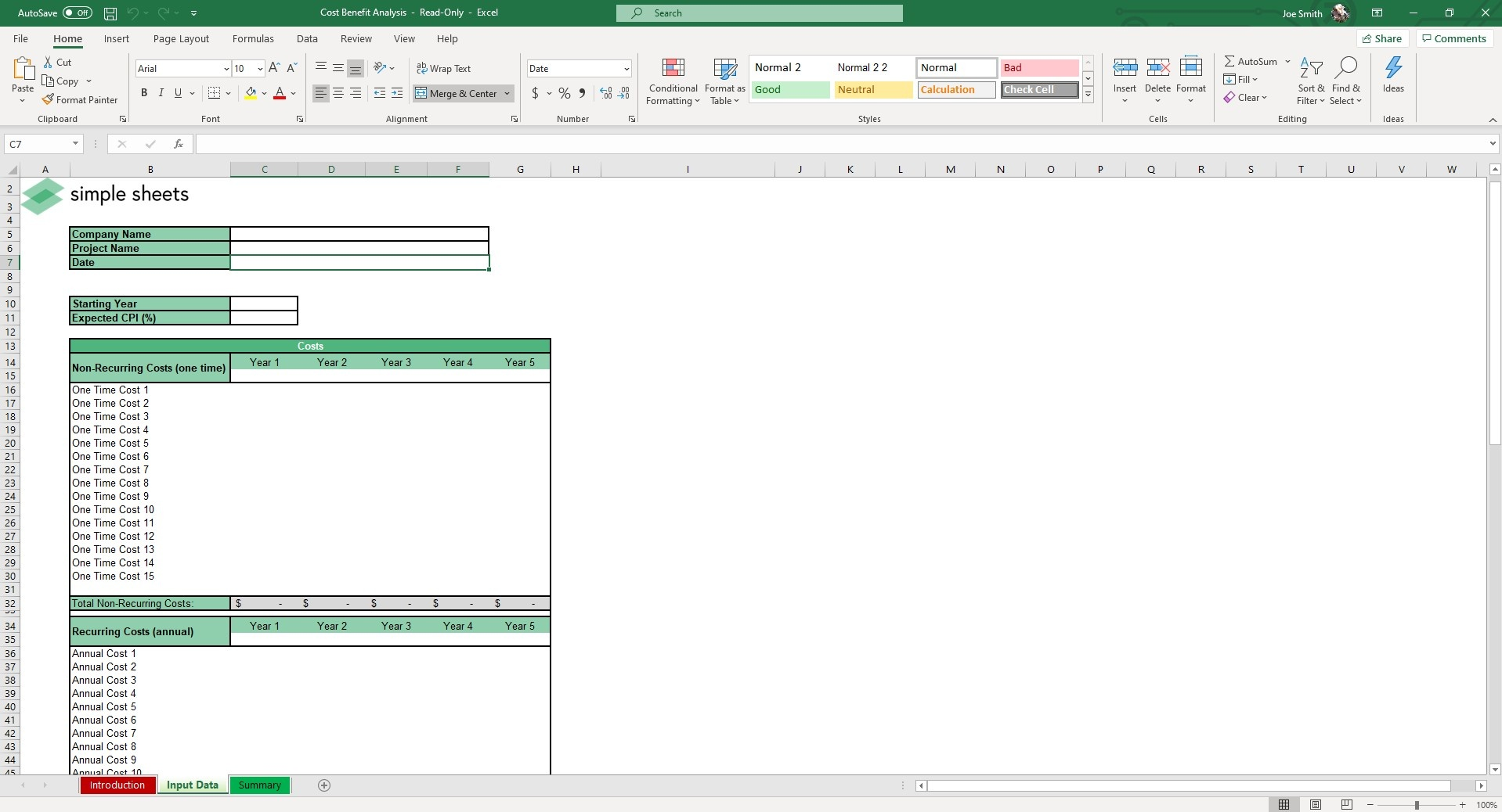 Input Recurring Costs into the Input Data sheet of our Cost Benefit Analysis Excel Template