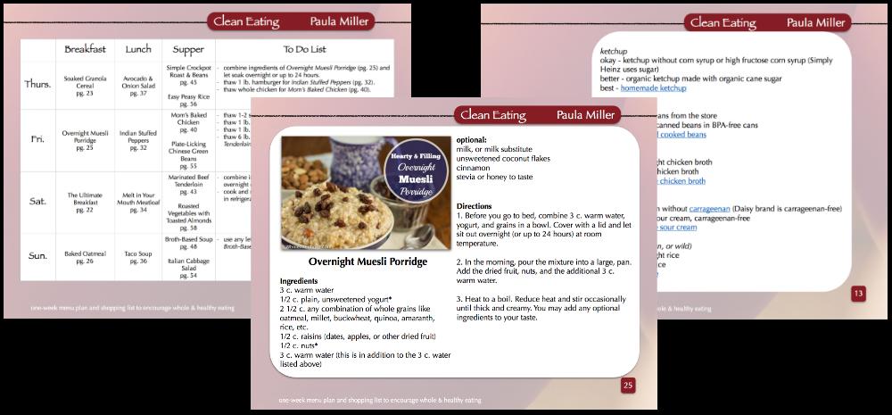 sample menu plans with categories