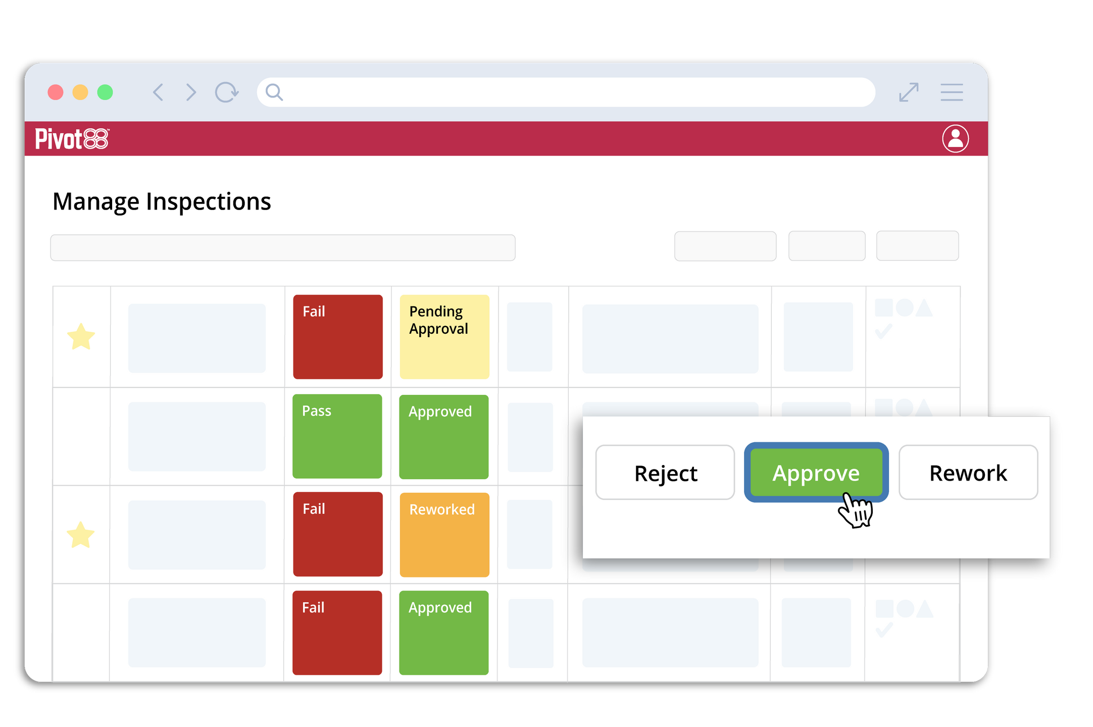 manage inspections page with approval selection