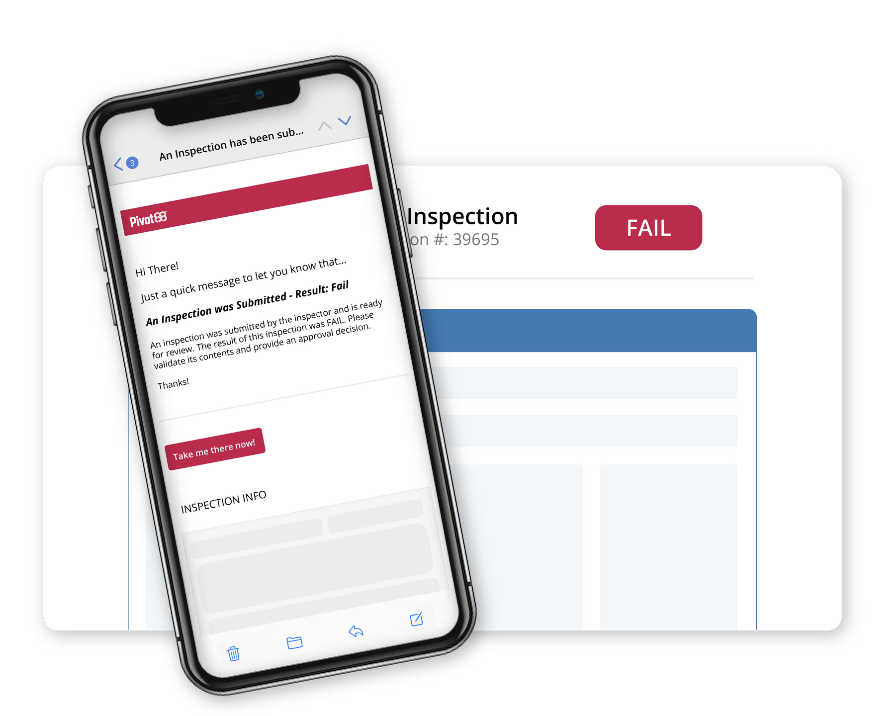 Collage failed inspection report with mobile device alert